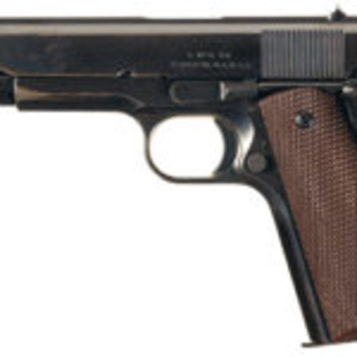 Rare World War II Singer Manufacturing Company U.S. Model 1911A1 semi-automatic pistol. Photo courtesy Rock Island Auction Co.