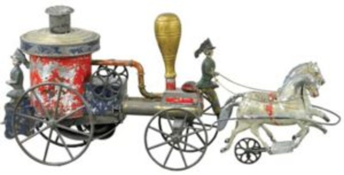 Althof Bergmann horse-drawn, painted tin fire pumper, American, circa 1874, 16in., one of few known, $7,200