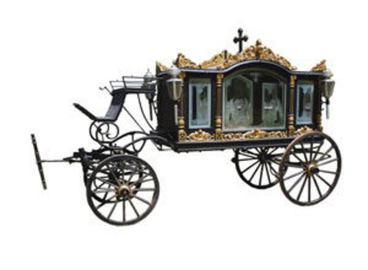 "Beginning in the 17th century, it became less practical to carry or push the dead by hand, so horse-drawn hearses came into fashion and stayed a long time - 300 years! These elaborate and ornate ""carriages for the dead"" were used to transport the casket during a funeral procession; estimate: $8,000-$10,000."