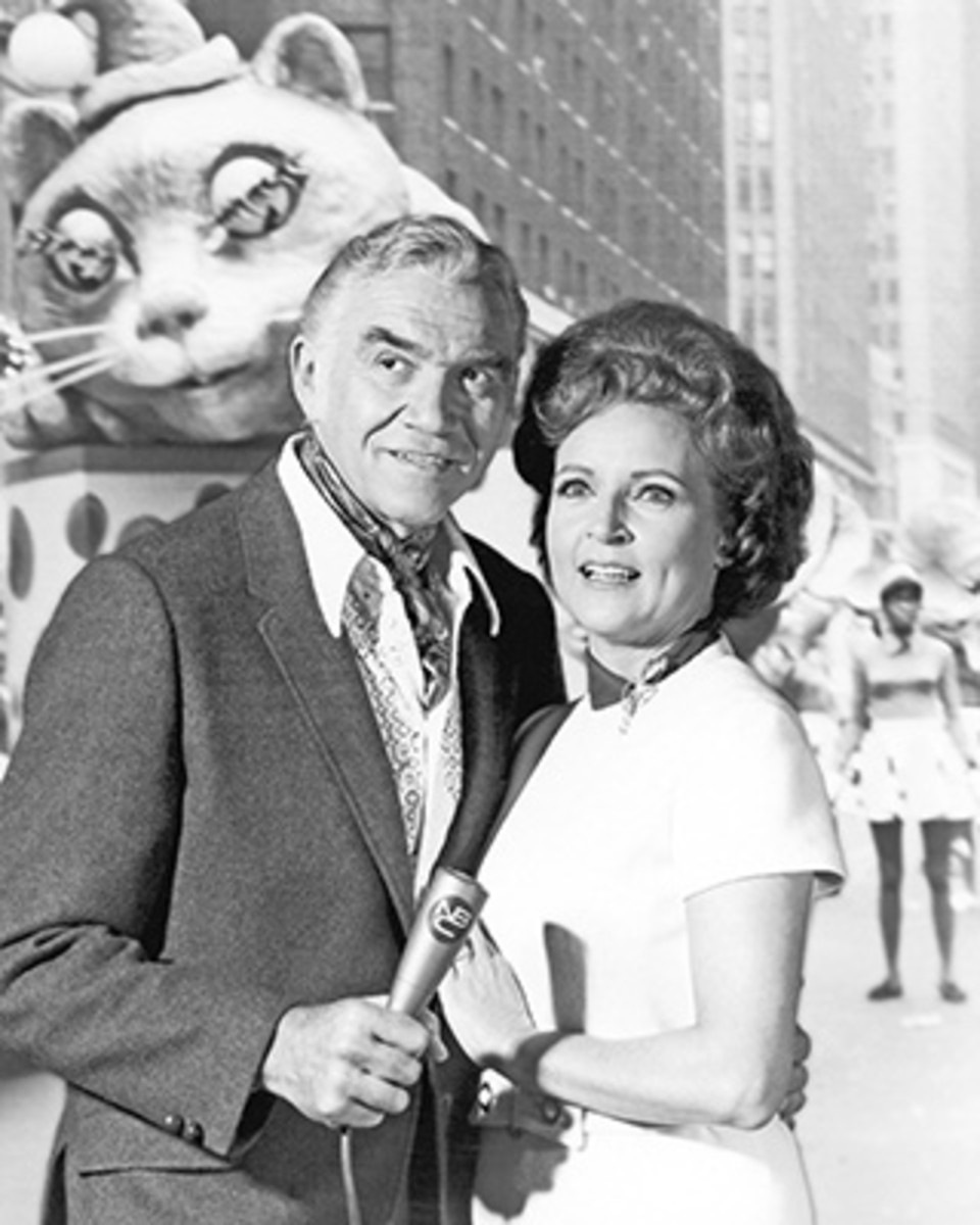 Bonanza star Lorne Greene (1915-1987) and the incomparable Betty White are photobombed by a giant float as they pose for a publicity still at the parade in 1969. The pair presented the telecast of the event for NBC television and hosted the parade every year from 1962 to 1971. Photo by Silver Screen Collection/Getty Images