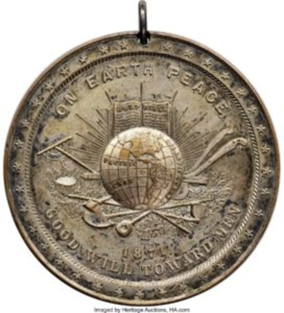 Beginning with Fillmore, Peace Medals changed the reverse from the previous PEACE AND FRIENDSHIP handshake design to the more instructive LABOR VIRTUE HONOR motif.
