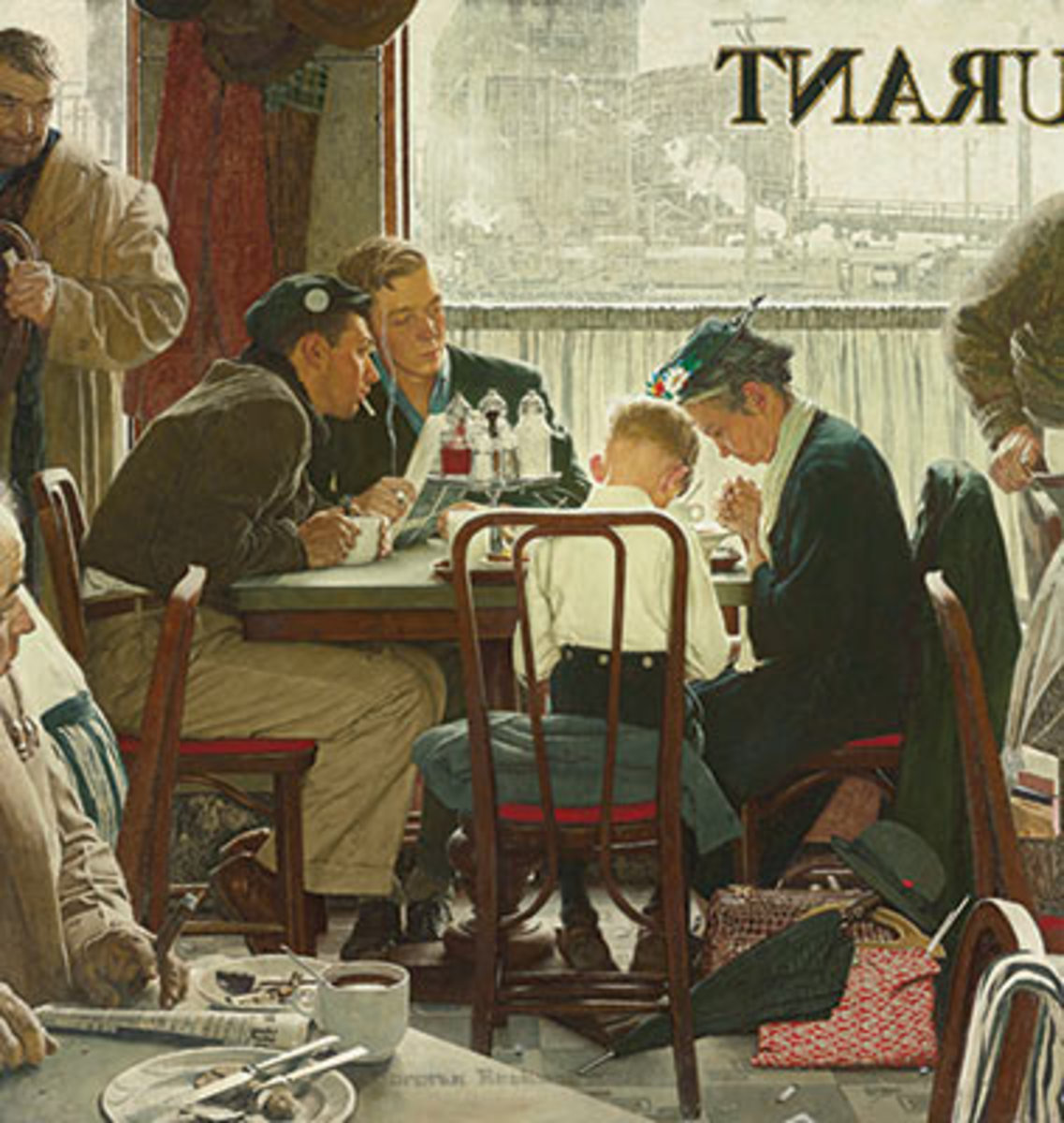 Appearing on the cover of the 1951 Thanksgiving issue of The Saturday Evening Post, Norman Rockwell's SAYING GRACE sold at Sotheby's for $46 million.