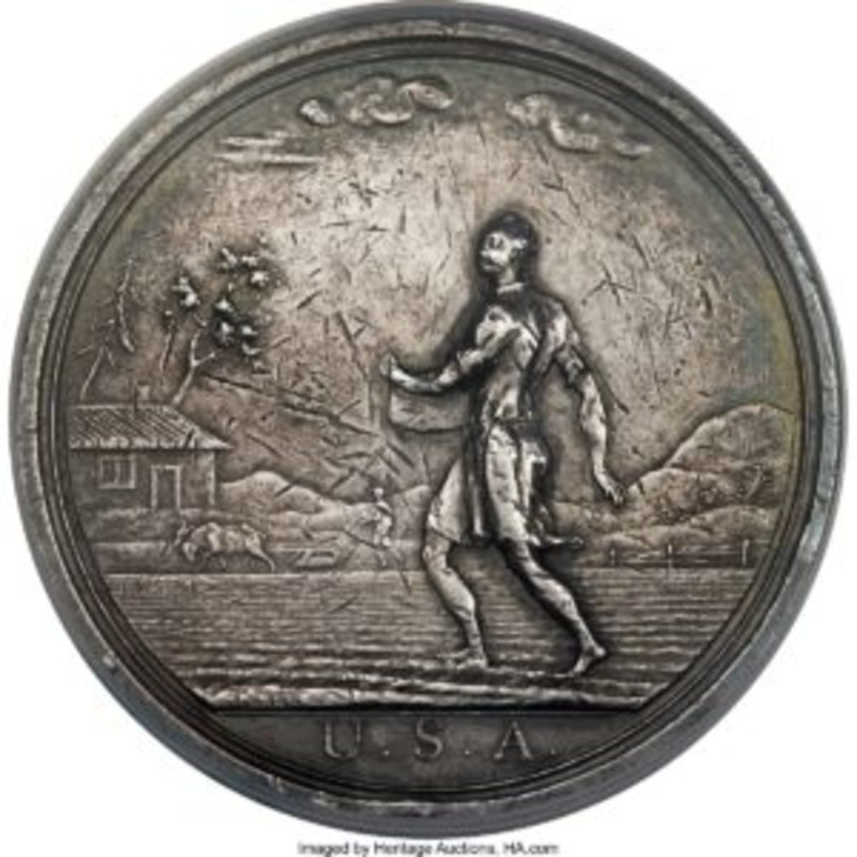 "A 1796 George Washington ""Seasons"" Indian Peace Medal, The Farmer, $23,500. In October 1796, Washington's third Secretary of War, James McHenry, ordered Seasons medals in silver and copper, as the first Indian peace medals struck for the United States."