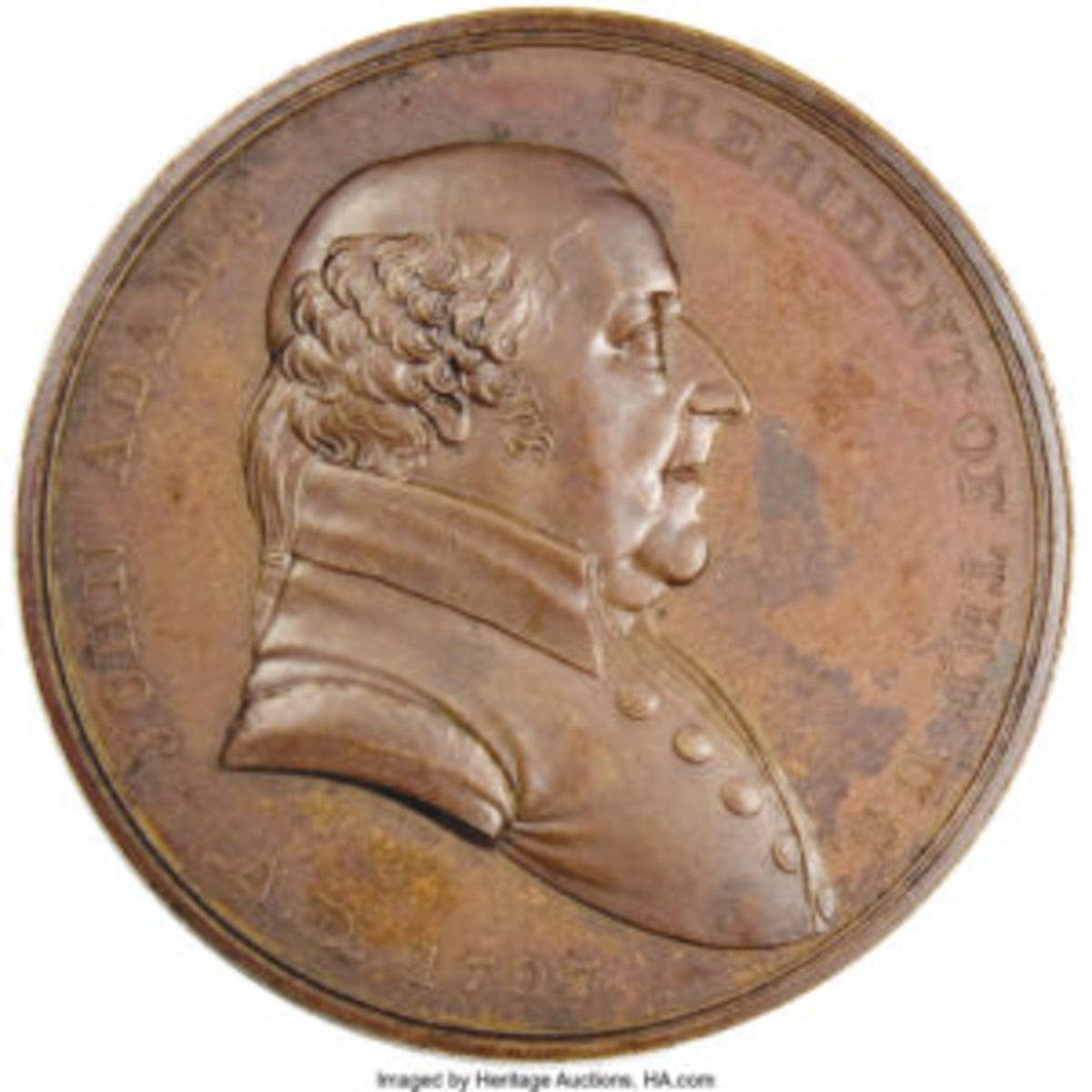 A large-size uncirculated 1797 John Adams Indian Peace Medal, bronzed copper 51mm, $373. Bust of Adams on face; reverse, hands clasped in the center, tomahawk and pipe intervening between PEACE AND FRIENDSHIP below.