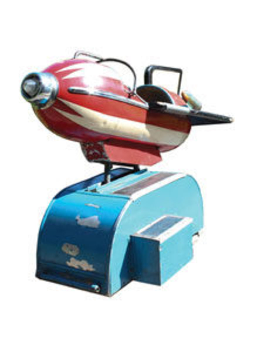 During the late 1940s-1950s, science fiction and the dream of future space travel was all the rage and coin-operated kiddie rids were everywhere. Rocket rides are the most highly prized and sought-after of all these kiddie rides. This Red Rocket ride has an estimate of $20,000-$30,000.