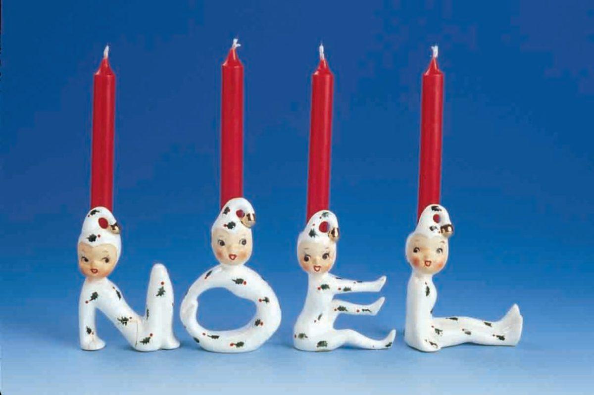 Pixie Elf girls NOEL candleholders (Dworkin collection)