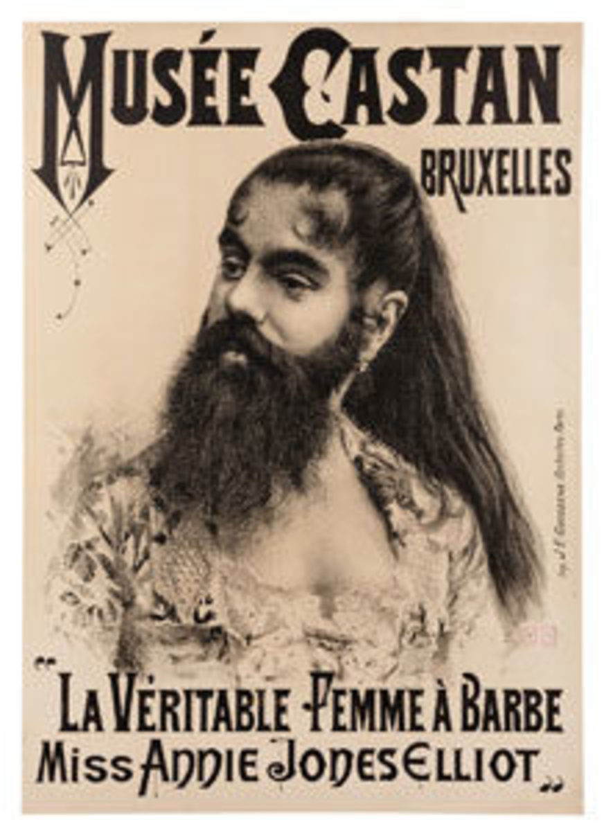 "A rare, oversized portrait lithograph (49"" x 34-1/4"") of Barnum's famous bearded lady, Annie Jones, for an appearance at the Musee Castan, Brussels, in 1891 is expected to fetch between $2,500-$3,500."
