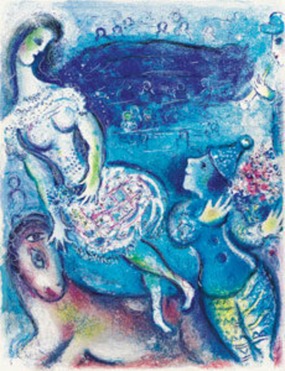 Marc Chagall's Cirque, a portfolio celebrating the circus, with complete text, 23 color lithographs and 15 black and white lithographs, 1967, was the top lot, selling for $143,000.
