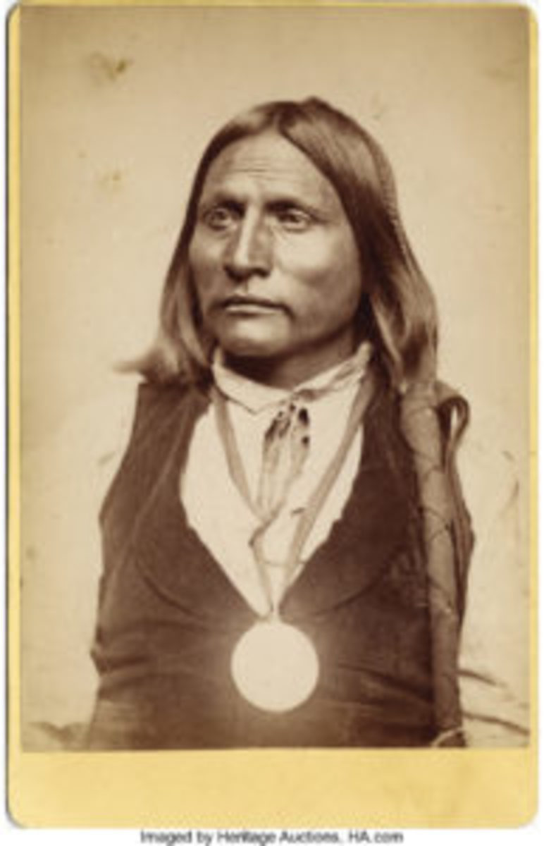 "Indian ""Big Bow"" Kiowa wearing a Peace Medal, ca. 1870s."