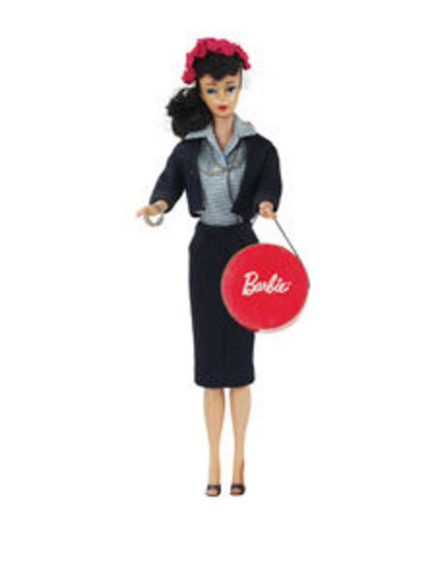 A Brunette Ponytail Barbie in a Commuter Set Fashion Outfit, 1959