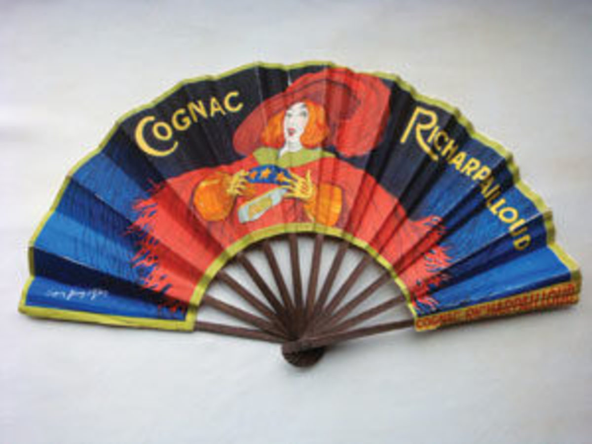 Advertising fans are popular with collectors. This advertising fan for Cognac Richarpailloud is circa 1930.
