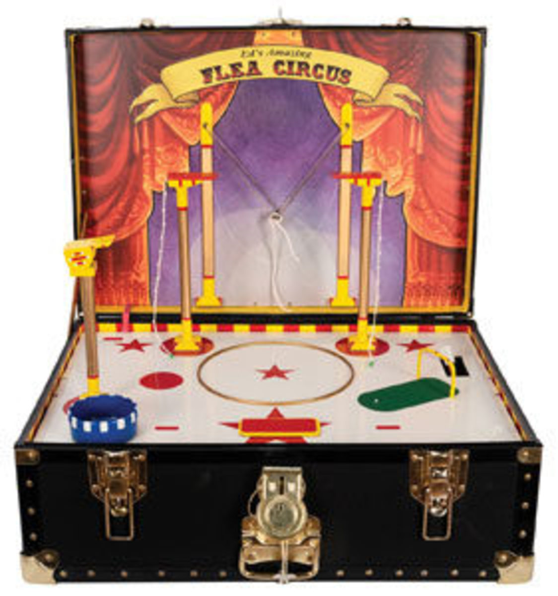 "Svensons electronic flea circus, all parts self-contained in a hard road case,including accessories that allow for the apparent performance of circus feats by fleas, 24"" x 17"" x 11""; estimate: $700-$900."