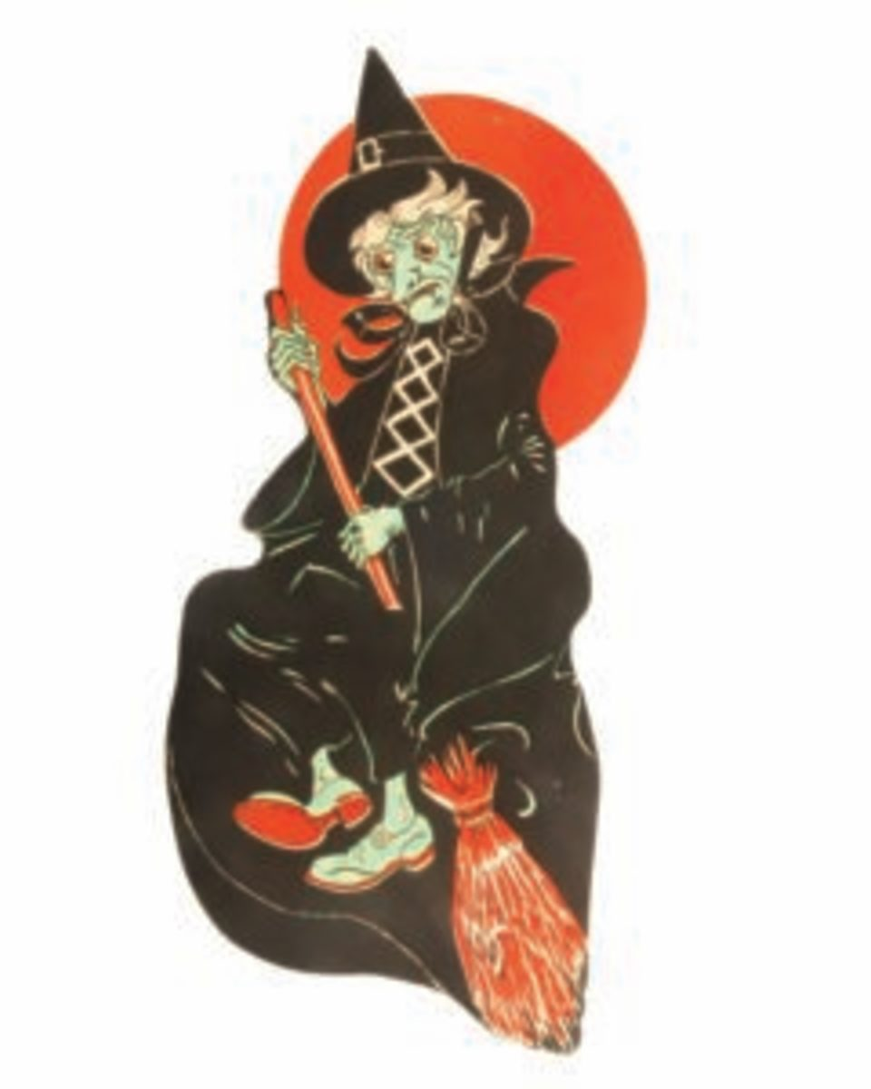 "Green-faced broomed witch, USA, Beistle, (no mark), late 1950s, 21"" h x 9"" w,non-embossed, $400."