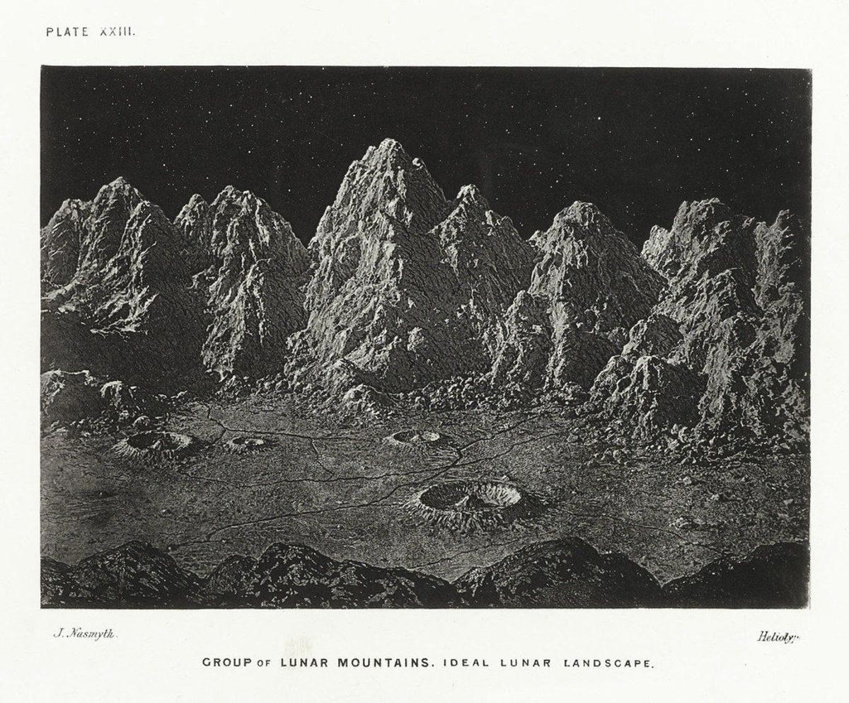 Group of lunar mountains. Ideal lunar landscape.