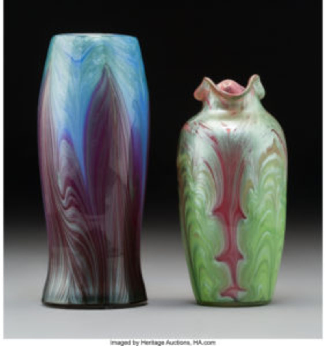 "Two Loetz Titania glass vases, circa 1905, taller one is 7-1/8"" x 3"" x 3""; $18,750."