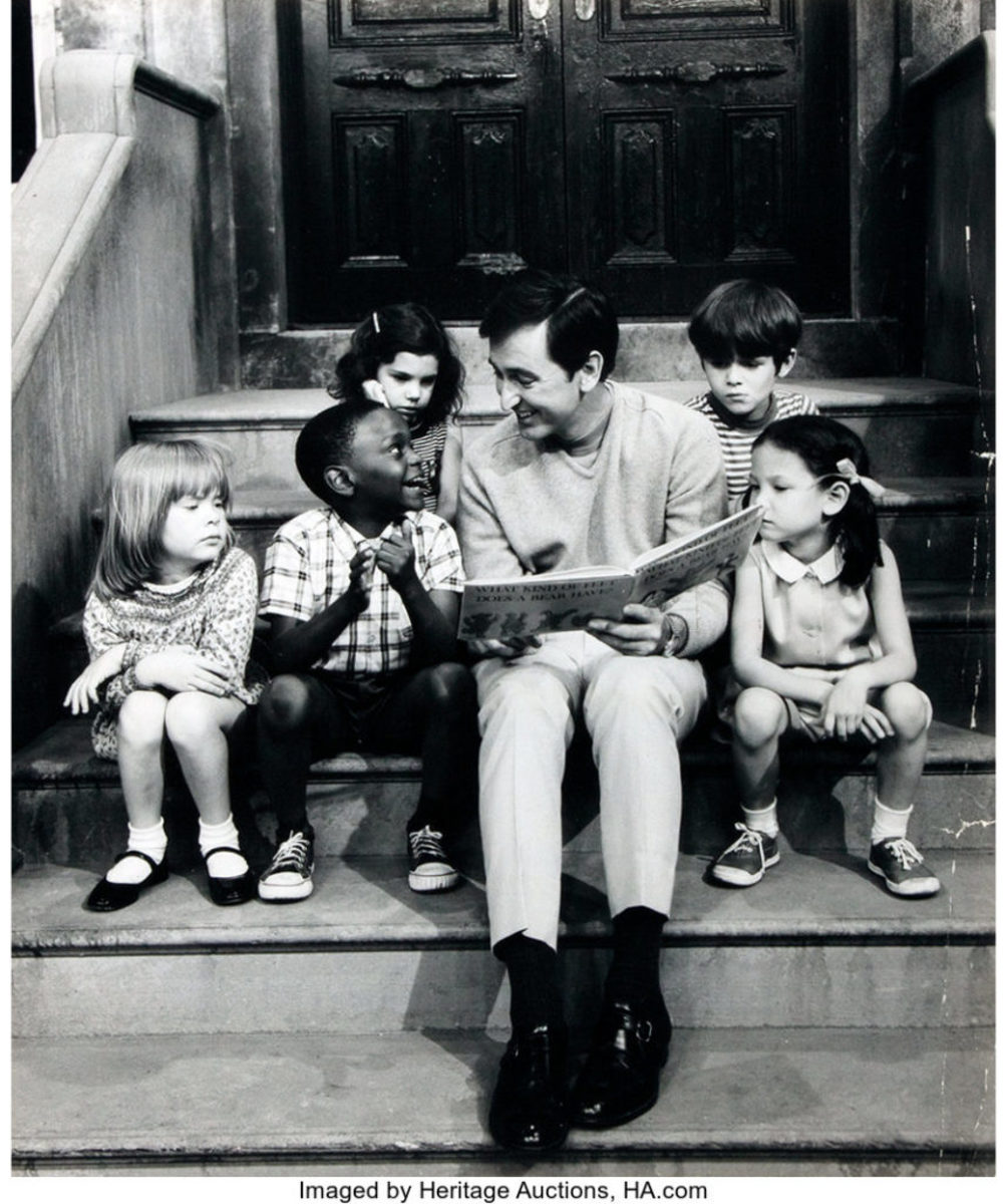 "Bob McGrath, one of the first hosts of ""Sesame Street,"" reads to some children, $19. Image is from the American Heritage Archives and courtesy of Heritage Auctions"