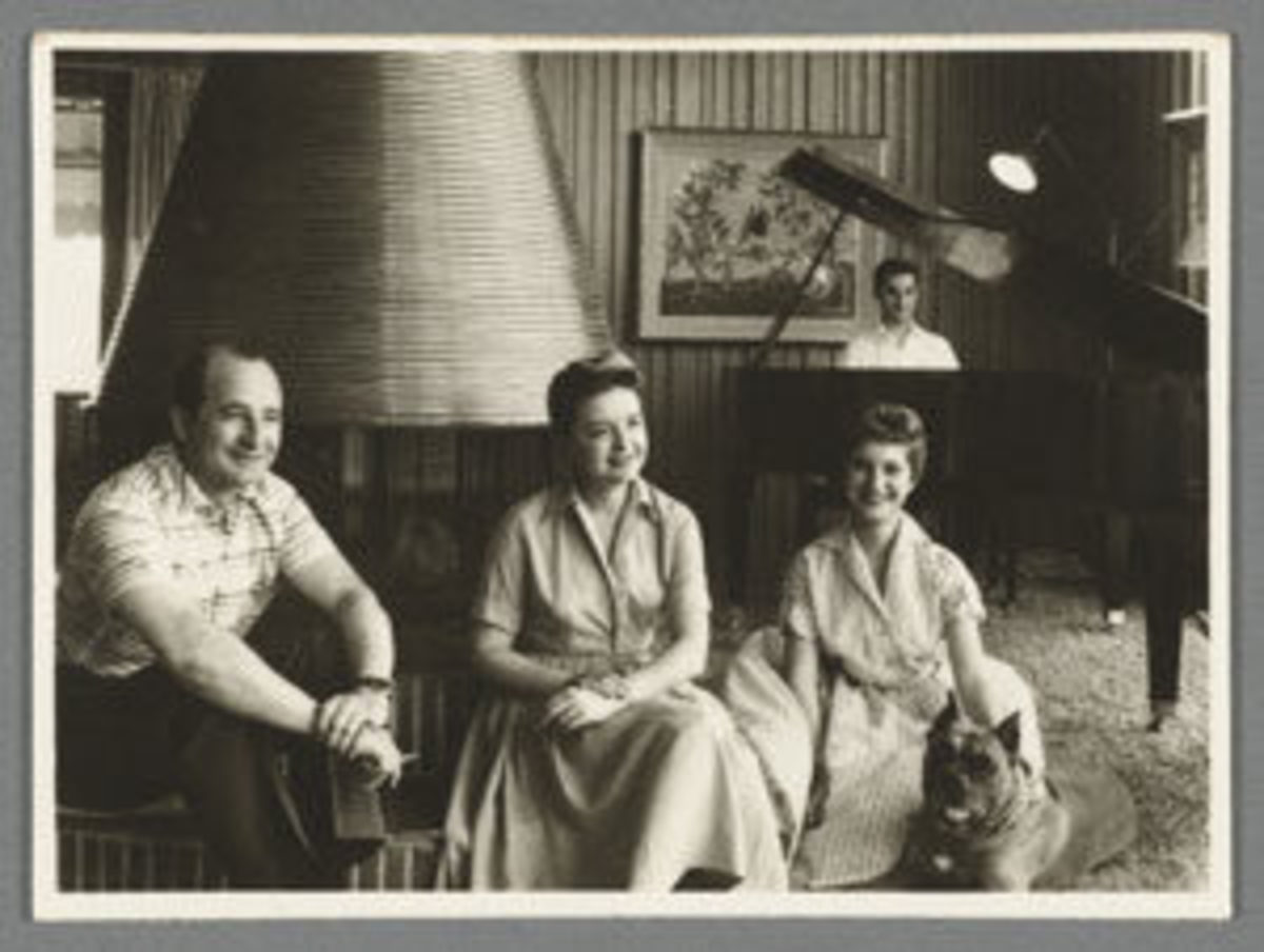 "An amazing businesswoman with a relentless spirit, Ruth Handler confessed to the Los Angeles Times in 1959 that she was ""a little lost in the home -- I'm not efficient."" From left: Elliot, Ruth, Barbara and Ken at the piano.Image courtesy of the Schlesinger Library, Radcliffe Institute, Harvard University."
