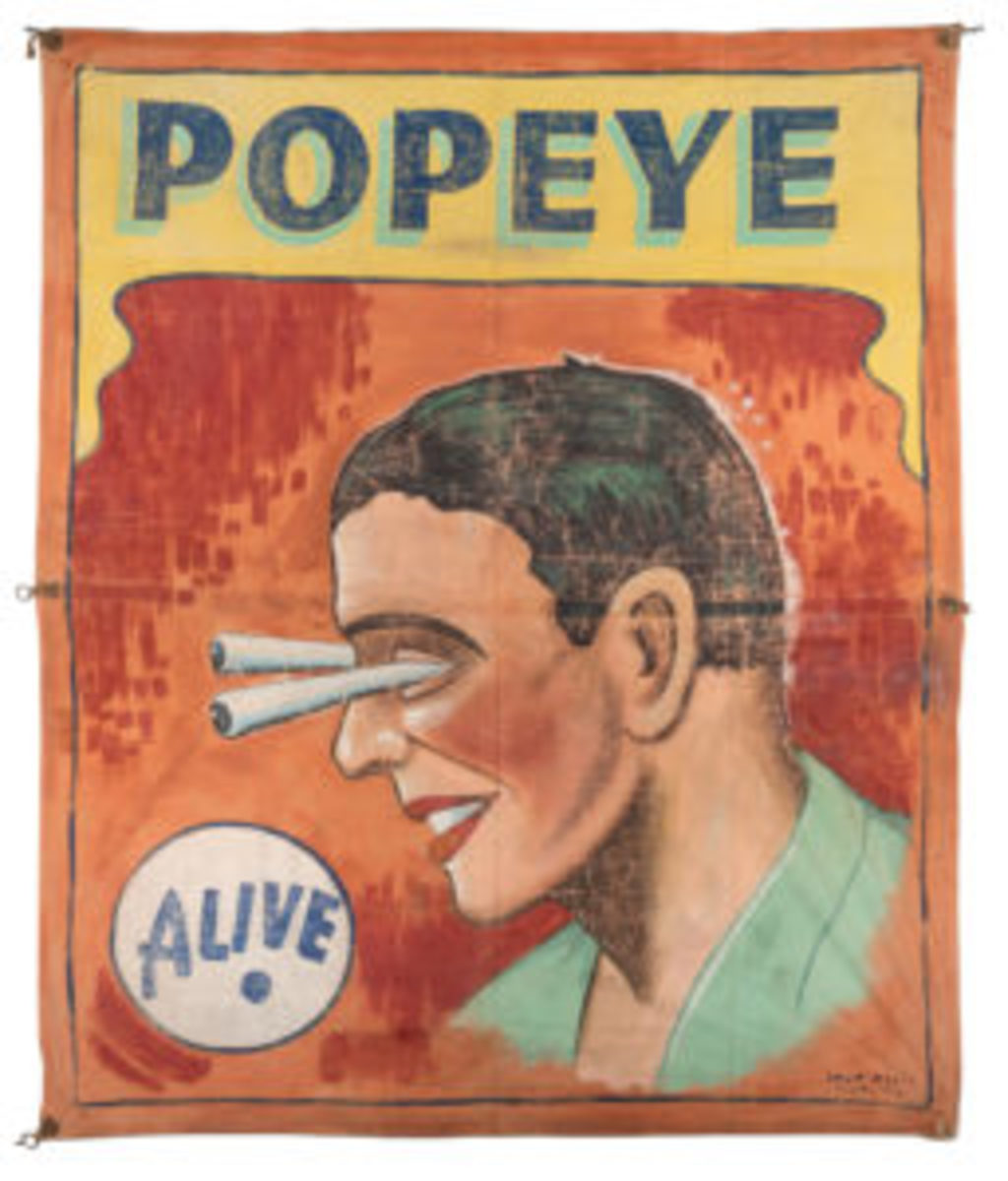 "A sideshow banner for Popeye, ca. 1950. The 137"" x 120"" banner shows the performer's head in profile, his eyes popping out of his head. It has a pre-sale estimate of $2,000-$3,000."