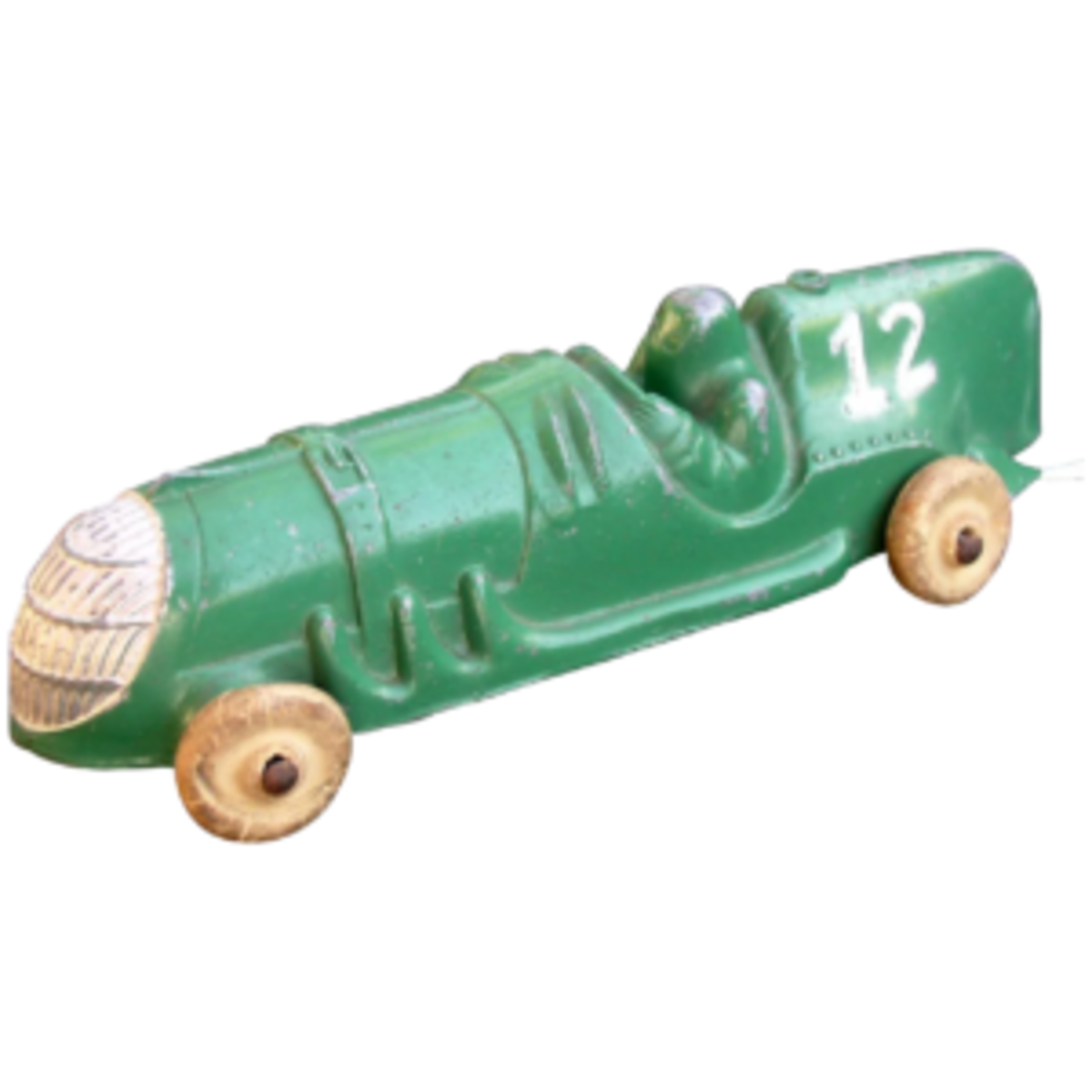 A Hubley diecast steel race car from the 1930s in green and silver; $55. Courtesy of Victorian Trinkets: rubylane.com/shop/cali4nigrl