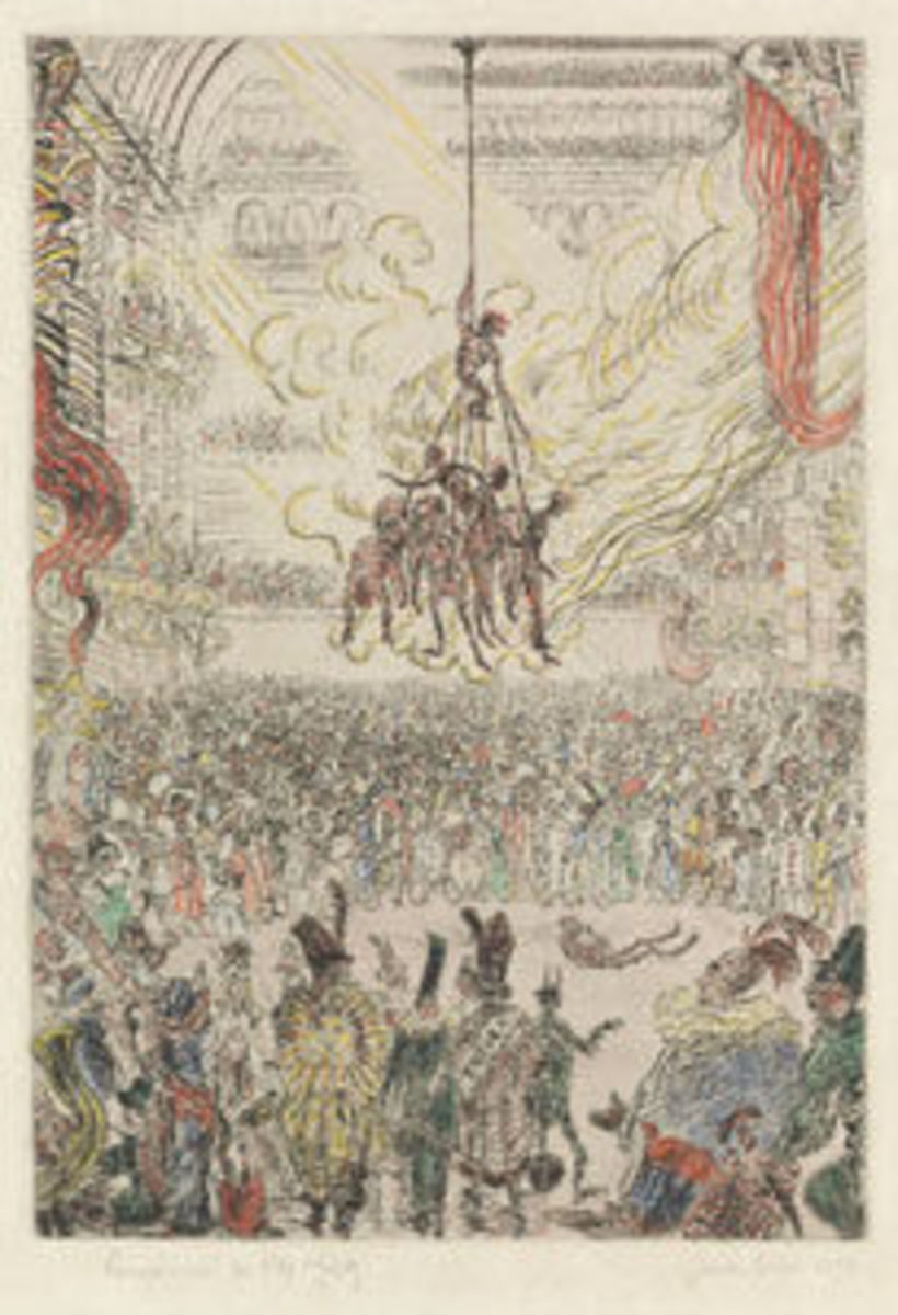 "James Ensor's 1898 La Vengeance de Hop-Frog, an etching with hand coloring in watercolor and gouache on imitation Japan paper, 14"" x 9-5/8"", sold for $32,500. Ensor's work was often political and he was criticized during the late 19th century for his incendiary images. He was unpopular with many critics and in the art market until the mid-1890s. This changed in 1895 when his painting, The Lamp Boy (1880), was acquired by the Royal Museums of Fine Arts of Belgium in Brussels and he had his first solo exhibition in Brussels."