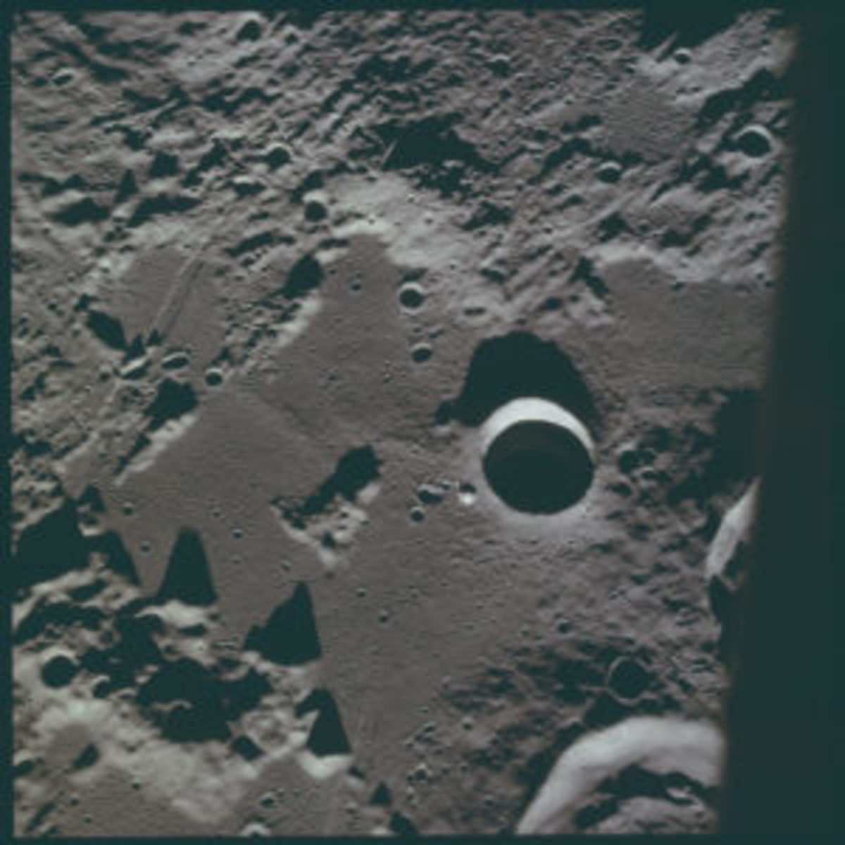 This is a photograph taken on an actual Apollo 11 mission. Photo courtesy of NASA/Project Apollo Archive