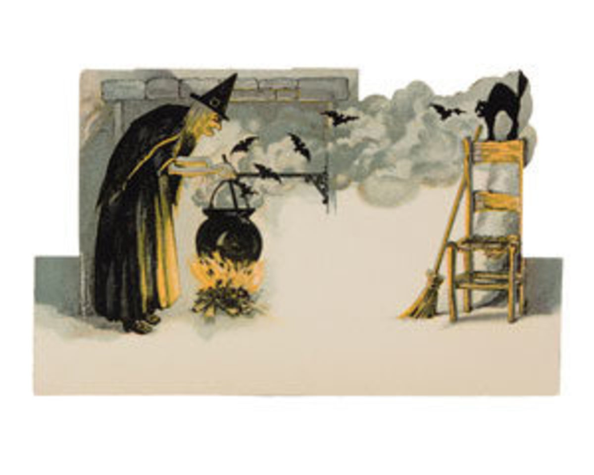 "Placecard with witch at cauldron, bats, and cat atop chair, U.S.A., Dennison, sold with stock number H8, first appeared in a 1920 Bogie Book, 3"" h x 5"" w; $225."