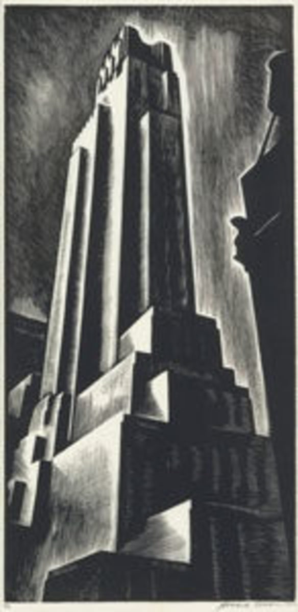 "Howard Cook, Skyscraper, wood engraving, 1928, edition of 40 (from an intended edition of 50), signed, dated ""1929"" numbered 45/50 and inscribed ""imp"" in pencil, lower right. A brilliant, richly-inked and evenly-printed impression of this large, important print, 18"" x 8-5/8"", sold for $10,625."