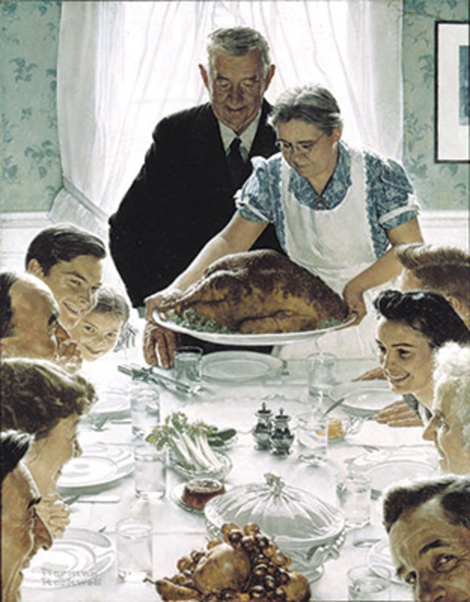 FREEDOM FROM WANT, by Norman Rockwell, appeared on the cover of The Saturday Evening Post, March 6, 1943. Image courtesy Norman Rockwell Museum.