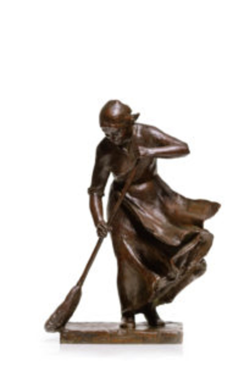 "Abastenia St. Leger Eberle (American, 1878-1942), Windy Doorstep, 1910, bronze, signed and dated, inscribed with foundry mark ""S. Klaber and Co. Founders, NY"", 14"" h, $68,750."
