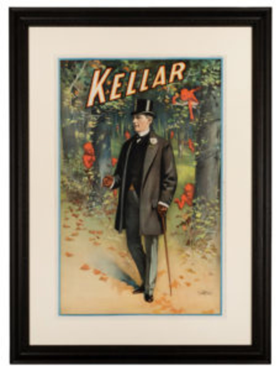 """Harry Kellar, """"A Walk in the Woods"""" lithograph, Cincinnati & New York: Strobridge Litho, ca. 1900. Half-sheet color lithograph depicting the famous American magician strolling through the forest as the demons so popular in his posters peek out from behind trees, framed to 37"""" x 27""""; estimate: $9,000-$12,000."""