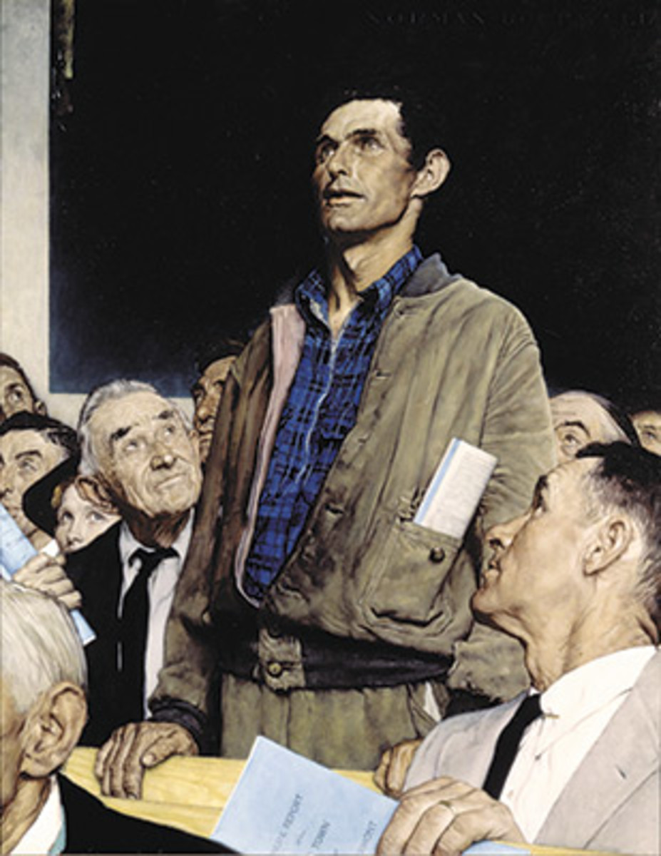 FREEDOM OF SPEECH, by Norman Rockwell, appeared on the cover of the Saturday Evening Post, Feb. 20, 1943. Image courtesy Norman Rockwell Museum.