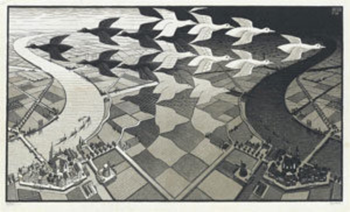 "Maurtis C. Escher, Day and Night, color woodcut printed in black and gray on tissue-thin laid Japan paper, 1935, signed and inscribed ""eigendruk"" in pencil, lower margin. This is one of Escher's master woodcuts in which he executes tessellations, curvilinear perspective and illusive composition, a ""bird's-eye"" view of a panoramic ""yin and yang"" river landscape, and is a superb impression; 15-3/8"" x 26-5/8"", $22,500."