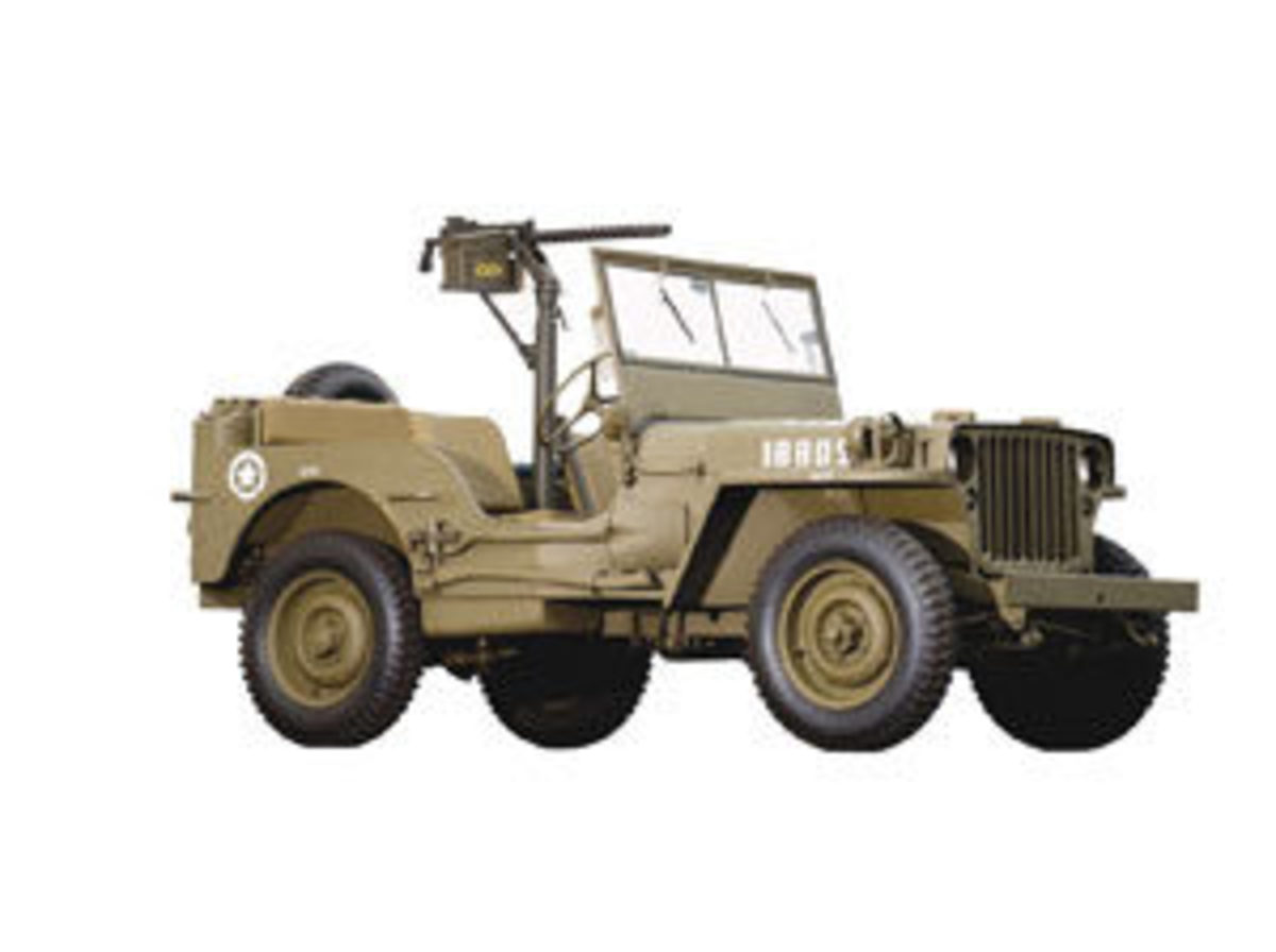 "Originally designed by the American Bantam Car Co. of Butler, PA, in 1940, this Ford Motor Company-built vehicle was born out of the Army's need for a vehicle that could replace both the horse and the motorcycle. It was designated ""GP"" for general purpose, which was pronounced ""Jeep"" by the service men who drove them. Over 350,000 were produced by Ford and Willys during the war; estimate: $15,000-$20,000."