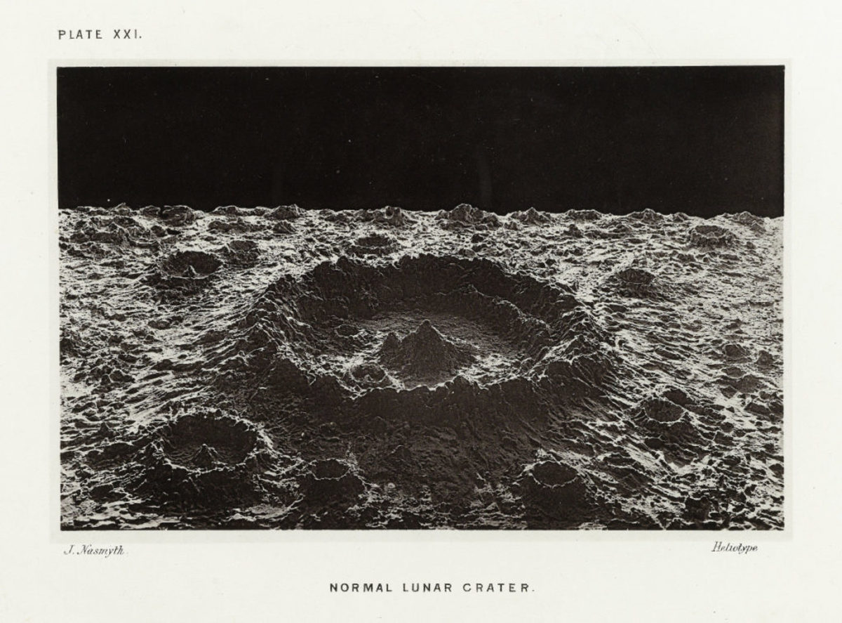 Normal lunar crater.All photos are from the book, The Moon: Considered as a Planet, a World, and a Satellite, and in the public domain.