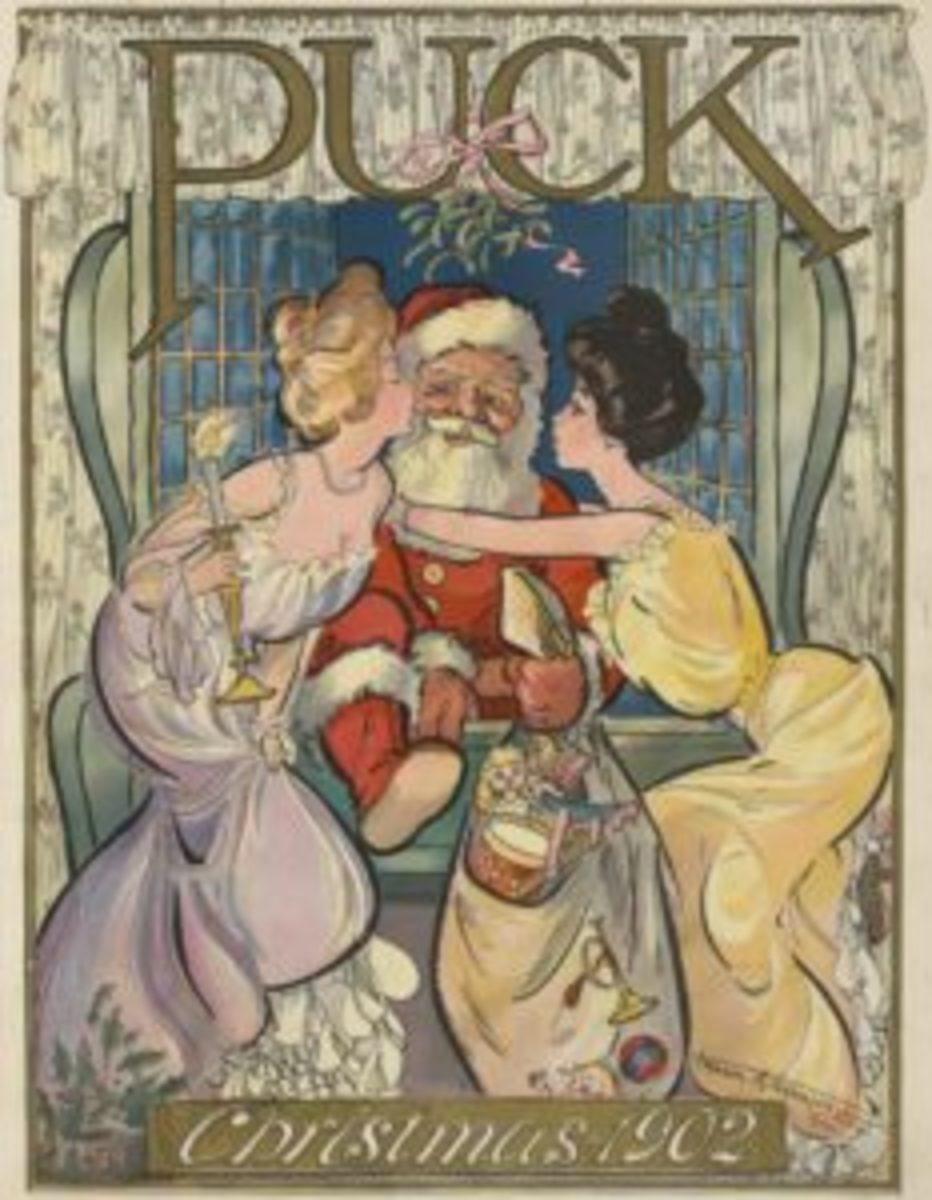 Santa Claus as illustrated by Frank A. Nankivell on the cover of Puck, December 3 1902.