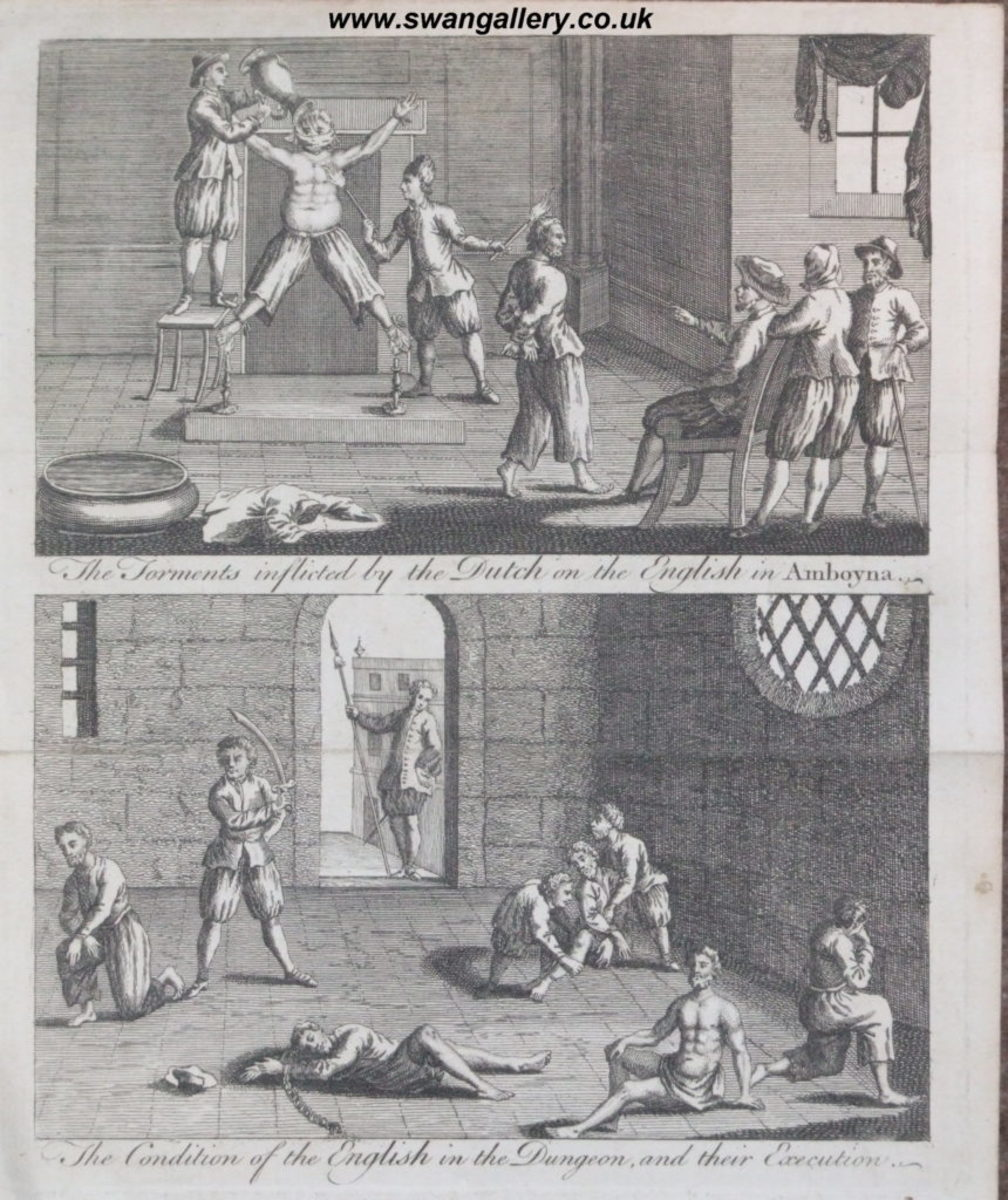 This copper engraving from approximately 1700 depicts the condition of the English prisoners at the hands of the Dutch. In the 1660s, the conflict and competition for the spice trade came to a head, with the Dutch murdering a number of merchants who were also in the Spice Islands trying to profit from the trade. Courtesy of WikiCommons/public domain
