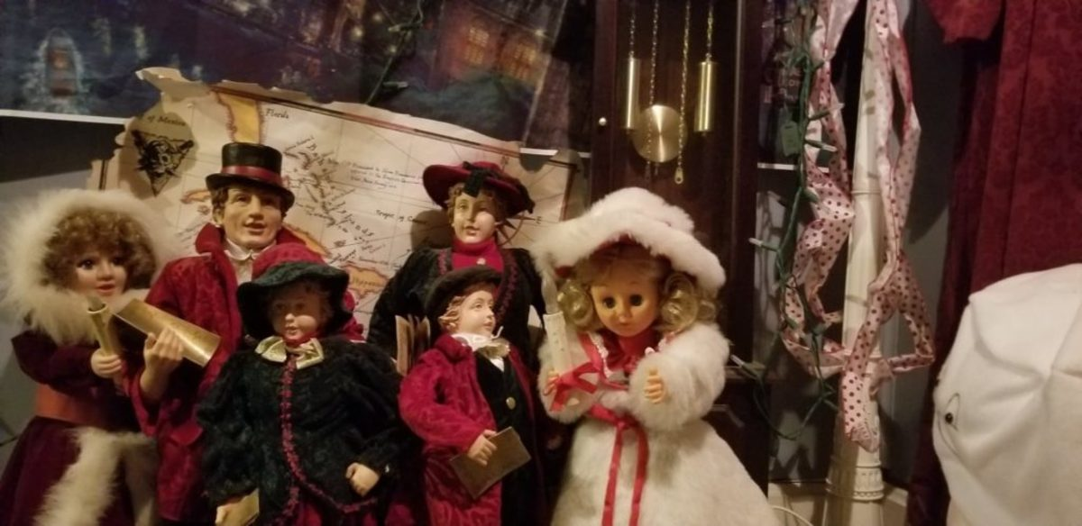 Schnell's small collection of caroler dolls also add Christmas cheer.