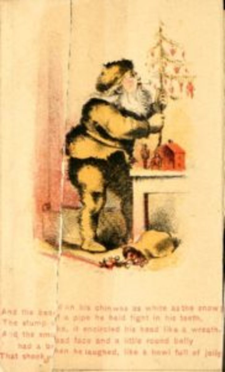 "In the illustrations from the 1864 edition of Clement Moore's poem, ""A Visit from St. Nicholas,"" Santa is wearing a yellow suit. Photos from Archive.org"