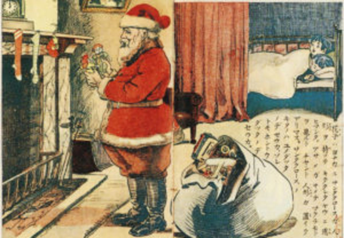 Japanese illustration featuring Santa, artist unknown.