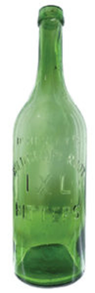 Henley's Wild Grape Root IXL Bitters in the quart bottle, circa 1868-1878. Most were aqua but this one is an unusual green with crudity, plus it's in mint condition; estimate: $2,000-$4,000.