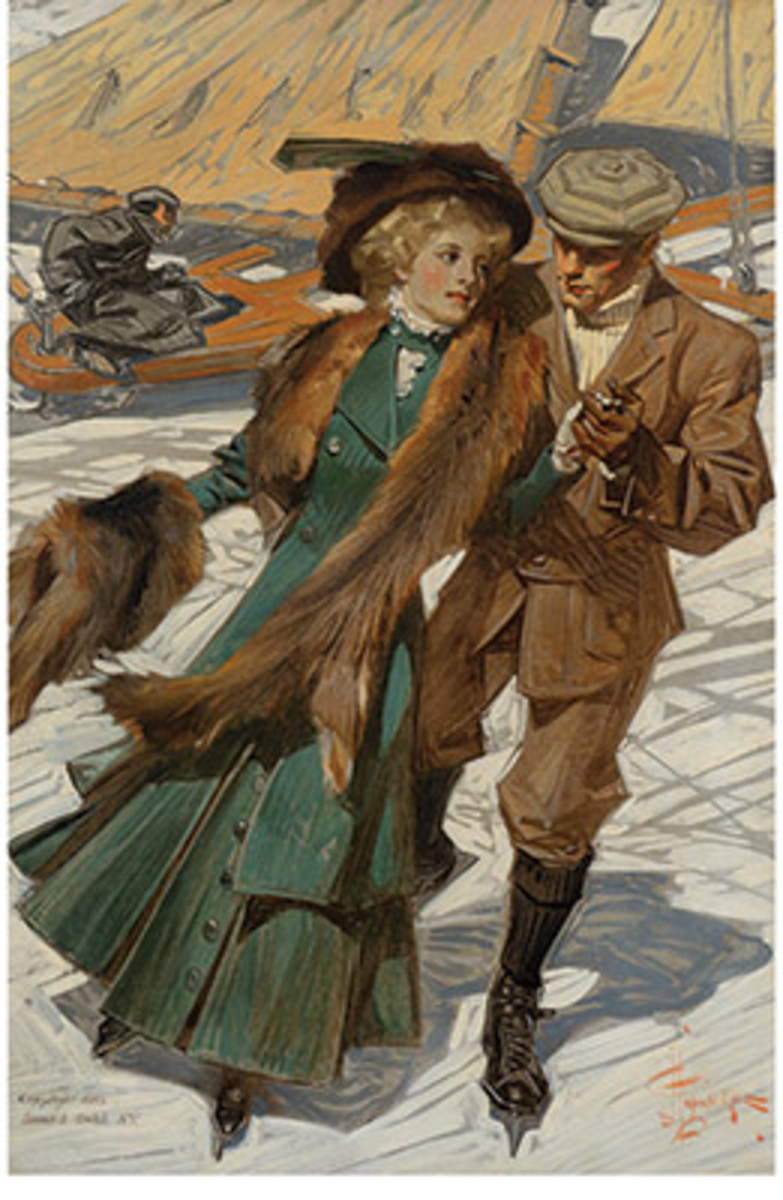 Joseph Christian Leyendecker'sIce Skaters, 1909, sold for $112,500 – a record for the highest price at auction for the artist's works that did not appear on aSaturday Evening Postcover.