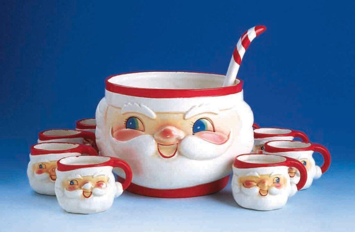 Winking Santa Punch Bowl Set (Dworkin Collection)