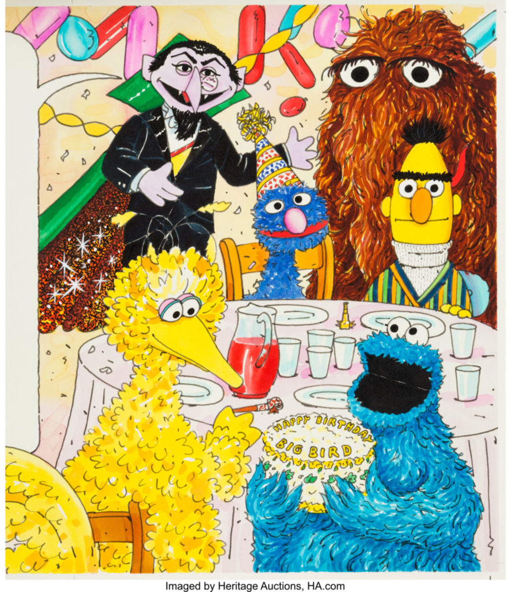 This is an original illustration by Rick Brown that was used on a cover of Sesame Street Magazine, which premiered in October 1970. On this cover from the 1970s/'80s, some Muppets have gathered to celebrate Big Bird's birthday including Cookie Monster, The Count, Bert, Grover, and a rare appearance of Mr. Snuffleupagus, $1,140. Image courtesy of Heritage Auctions