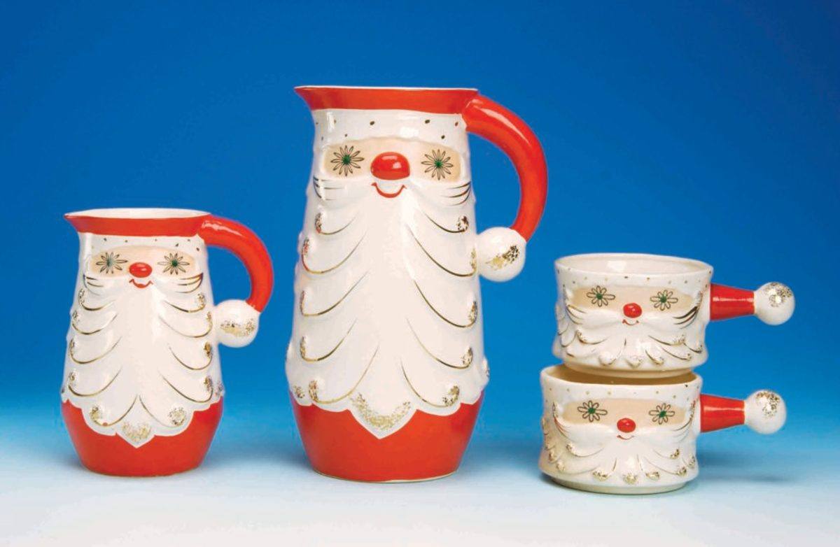 Starry-Eyed Santa Pitchers with Mugs (Dworkin collection)