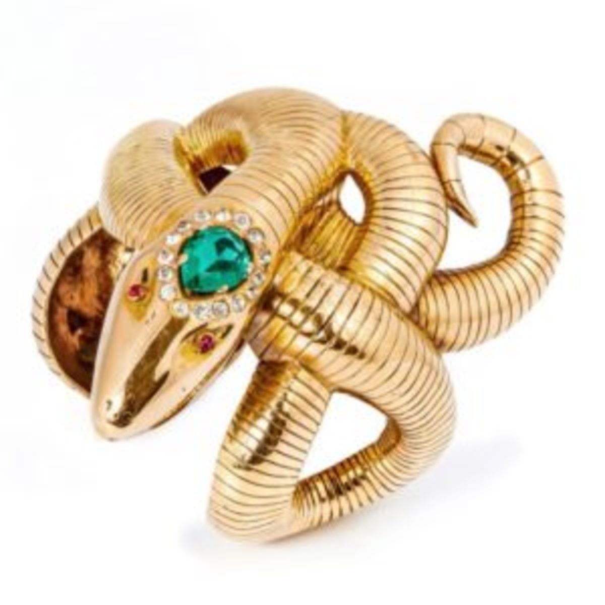 A Rita Hayworth-worn 18k yellow gold cuff bracelet in the form of a coiled snake, with a simulated emerald surrounded by 16 simulated diamonds on the crown and two simulated rubies for eyes, sold for $25,600, thousands more than its estimate of $10,000-$15,000. You can see the cuff on Rita's wrist in a scene from Down to Earth (Columbia, 1947) shown below.