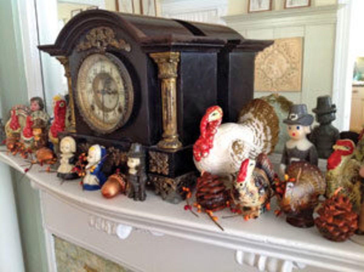 Don't forget about your mantle or any other places you can adorn decorations. Tom Johnson adds traditional turkeys, pilgrims, Indians and pine cones to his. Image courtesy of Tom Johnson
