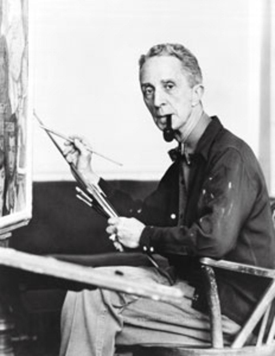 Norman Rockwell in his studio in Stockbridge, Mass., circa 1959.