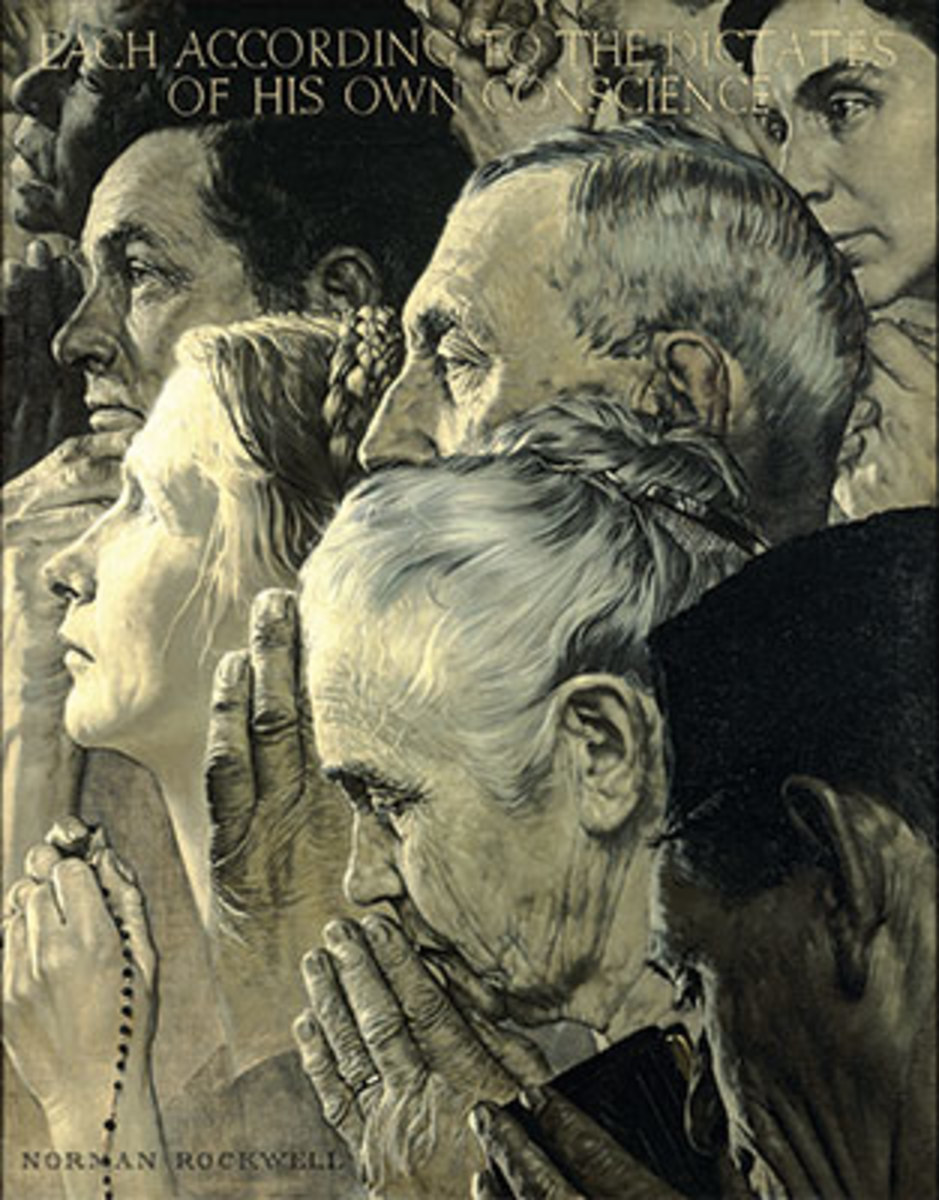 FREEDOM OF WORSHIP, by Norman Rockwell, appeared on the cover of the Saturday Evening Post, Feb. 27, 1943. Image courtesy Norman Rockwell Museum.