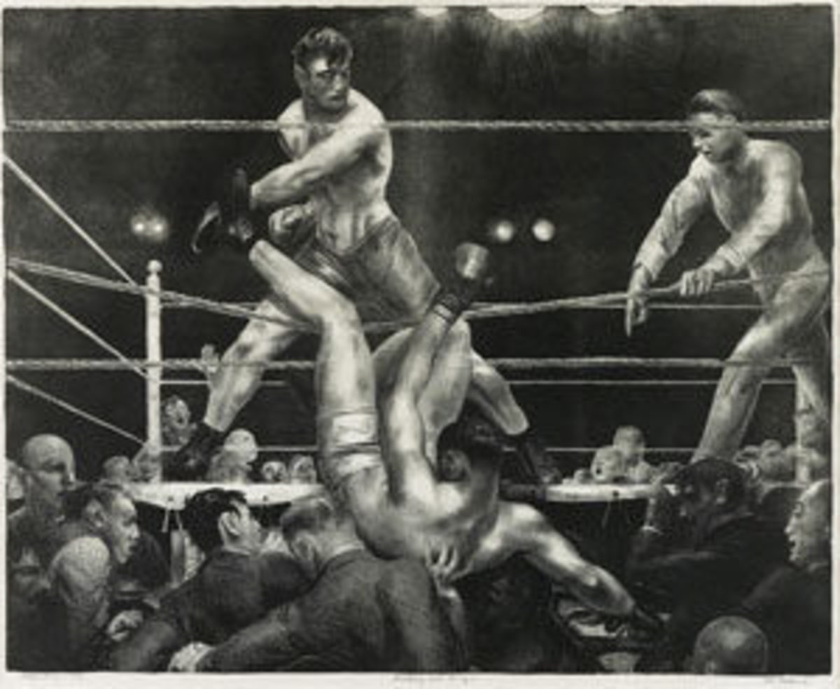 "This important lithograph by George Bellows, 18"" x 22-3/8"", sold for $37,500."