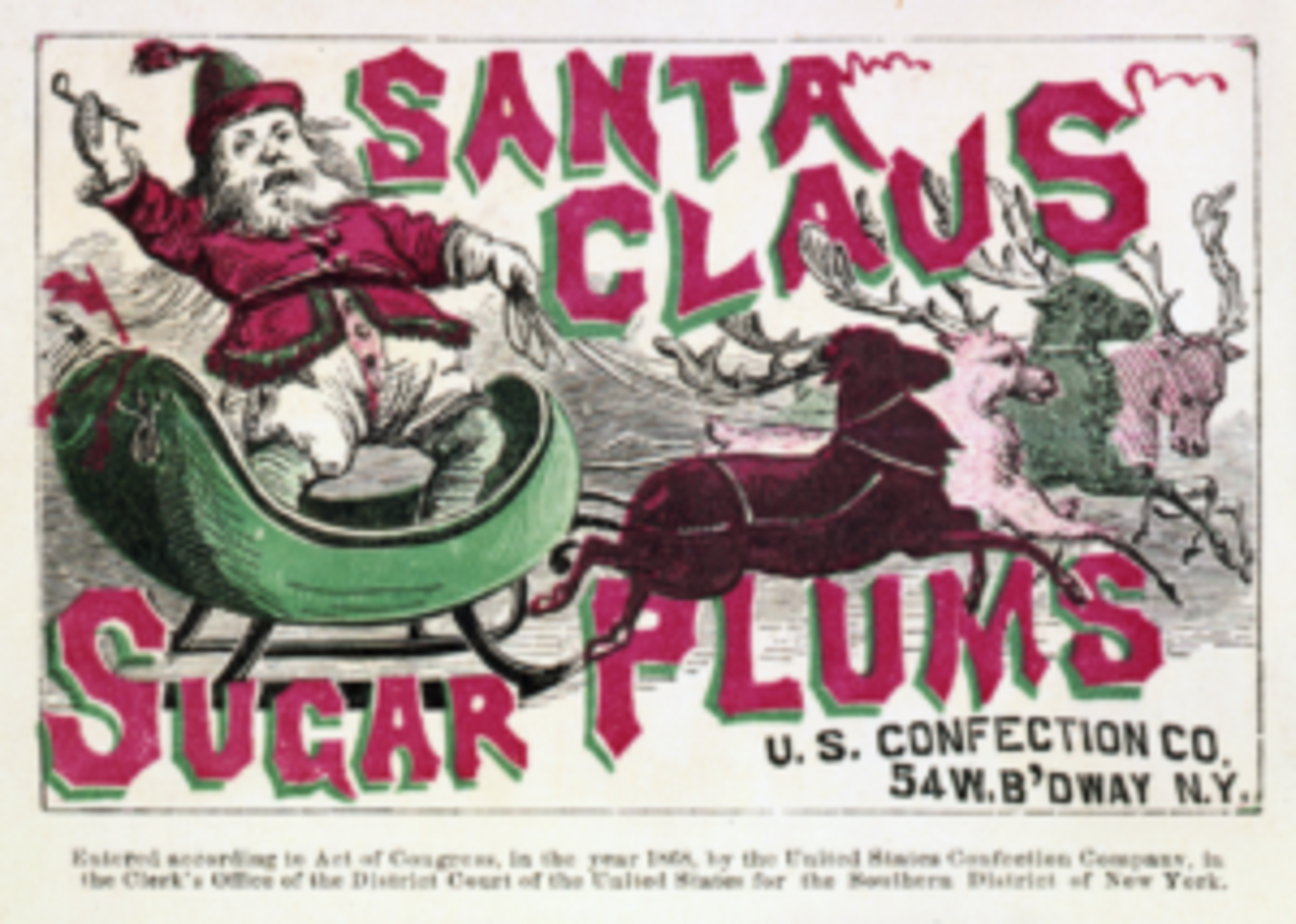 An advertisement for Santa Claus Sugar Plums shows a red(ish)-suited Santa Claus on a sleigh pulled by reindeer.